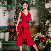 Платье для латинских танцев, для взрослых, танго, ча-Румба, Самба, сальса, тренировочные костюмы, женский комбинезон без рукавов, юбка с листьями лотоса, DNV12270