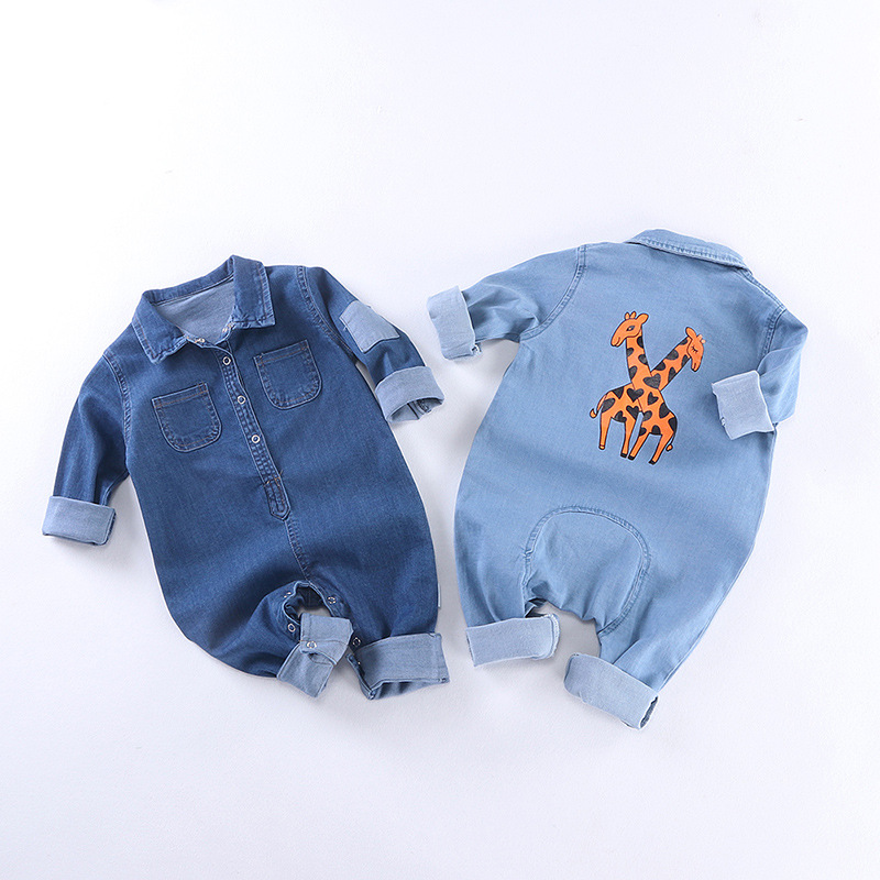 Soft Denim Baby Romper Giraffe Infant Newborn Jumpsuit Babies Boy Girls Costume Cowboy Fashion Jeans Children Rompers RM19013