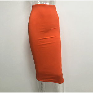Image 5 - Colysmo 2 Layers High Waist Stretch Pencil Midi Skirt 2019 Women Elegant White Long Skirts Candy Colors Cotton Casual Skirt Gray