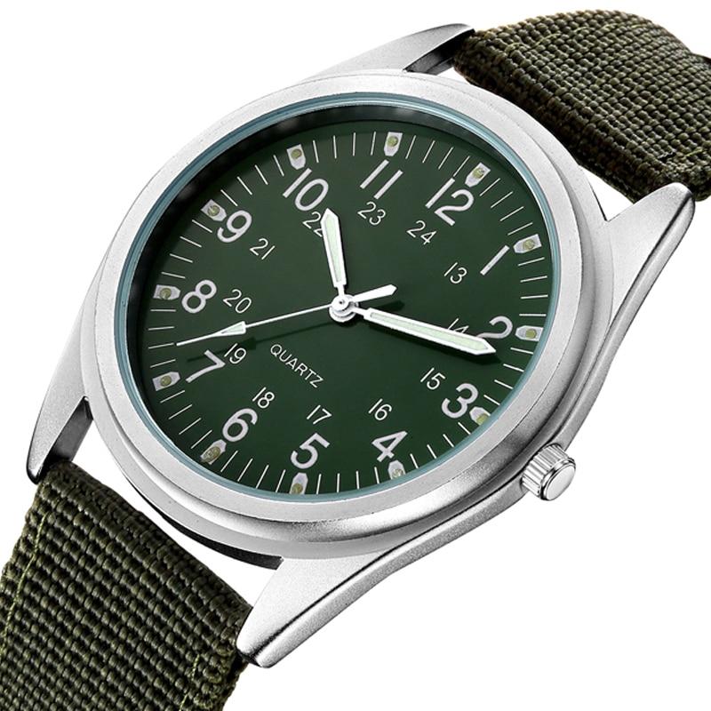 Простые кварцевые часы, мужские светящиеся тканевые часы с тканевым ремешком, флуоресцентные зеленые мужские часы, модный мужской подарок