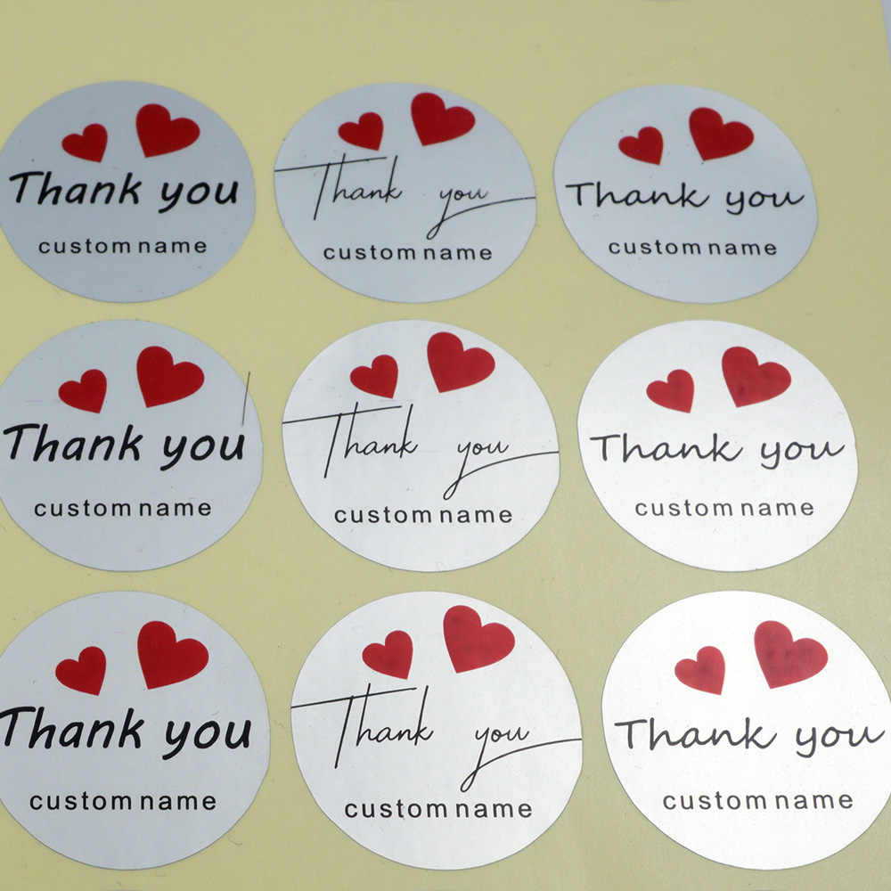 48Pcs Thank You Sticker DIY Hand Made Custom Label Personalized Round Wedding Stickers For Gift Cake Baking Envelope Sealing