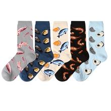 5 זוגות חדש גברים נשים כותנה גרביים מקרית צבעוני גרבי צוות גרבי רחוב סקייטבורד גרבי שמח מצחיק Harajuku סוקס Meias