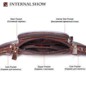Image 4 - Flanker Genuine cow leather men waist bag casual small fanny pack travel waist pack cell phone bag crossbody bags man chest bag