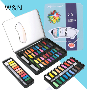 12/18/24/36 Colors Watercolor Paint Set Box Draw Solid Watercolor Pigment With Water Soft Brush Pen Art Supplies Dropshipping 21 colors solid watercolor palette pigment powder paint set with water brush watercolor paper watercolor pen watercolors box set