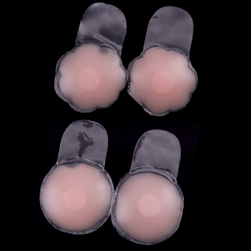 1 ペア自己粘着シリコンインスタントリフトアップテープ花びら再利用可能なフラワー乳首カバーシリコンバストパッドインビジブル乳のためのパーティードレス