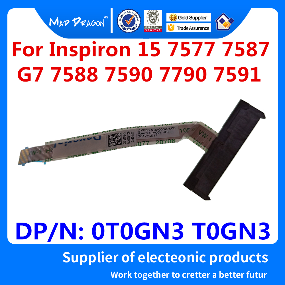 New HDD Connector Flex Cable SATA Hard Drive SSD Adapter Wire For Dell Inspiron 15 7577 7587 G7 7588 7590 7790 7591 0T0GN3 T0GN3
