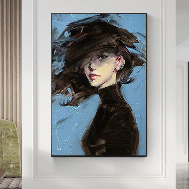 Woman on Blue Background Art Painting Printed on Canvas 2