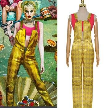 Disfraz de Cosplay del Escuadrón suicida de Harley Quinn, disfraz de Halloween para adultos, hombres y mujeres, mono Sexy amarillo C180K43