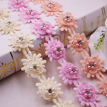 1Yards/Lot Flower Pearl Beaded Lace Fringe Embroidered Ribbon Trim African Fabric flower Handmade Costume Sewing