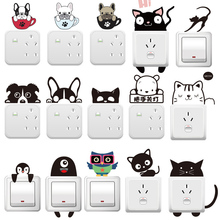 Home Wall Decor Stickers DIY Cute Cat Dog Switch Bedroom Parlor On-Off and Socket Decoration Sticker