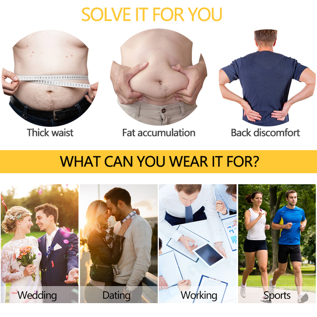VASLANDA Men Waist Trimmer Belt Slimming Body Shaper Weight Loss Lumbar Trainer Shapewear Sweat Girdle Corset Cintas Modeladora 4