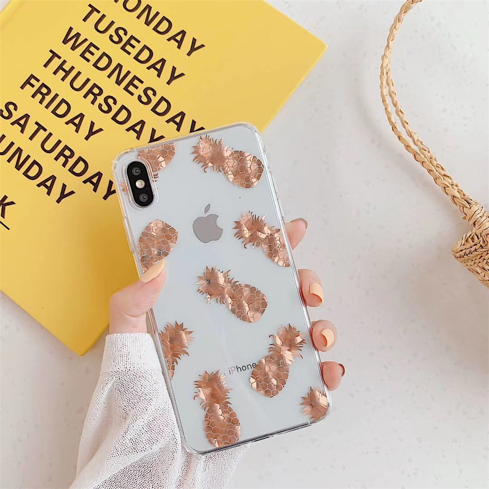 Qianliyao Rose Gold Leaves Pineapple Phone Case For iPhone X XR XS Max 7 8 Plus Cases Clear Soft Electroplated TPU Back Cover