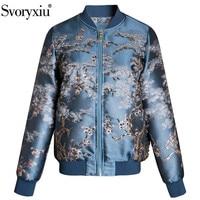 Svoryxiu Fashion Designer Autumn Winter Jacquard Jackets Coat Women's Long Sleeve Crystal Beaded High End Outwear