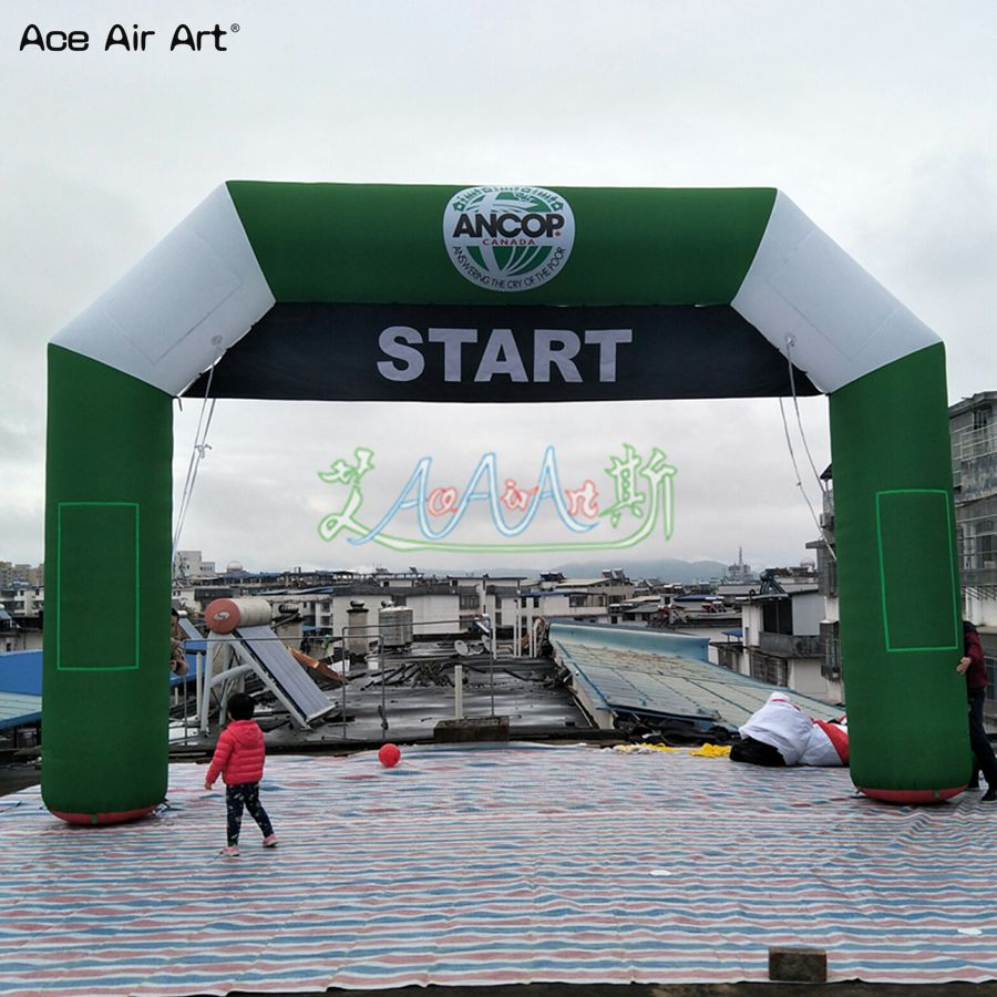 Customized 8.2x4.5m arch inflatable start finish line archway with banner/sticker boxes for ANCOP