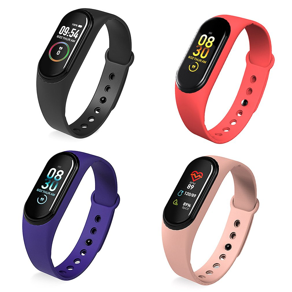 M4 Fitness Smart Sport Bracelet Blood Pressure Heart Rate Monitor Colorful Touch Screen Smart Band Wristband Step Counter image