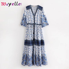 Summer Beach Ladies Dresses Boho V Neck Long Dress Women Vintage Floral Print Tie Tassel Dress 2019 Fashion Casual Dress Women tribal print tassel tie neck dress