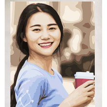 Oil-Paint Portrait Canvas Custom By Numbers Photo-Customized DIY Family on for Wedding