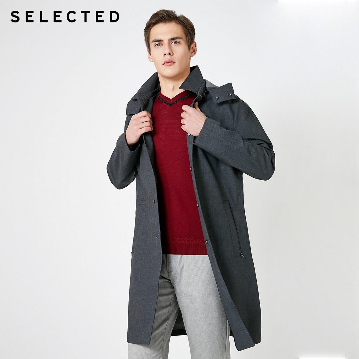 SELECTED Men's Spring 100% Wool Medium Length Hooded Wind Coat T|4191OM534
