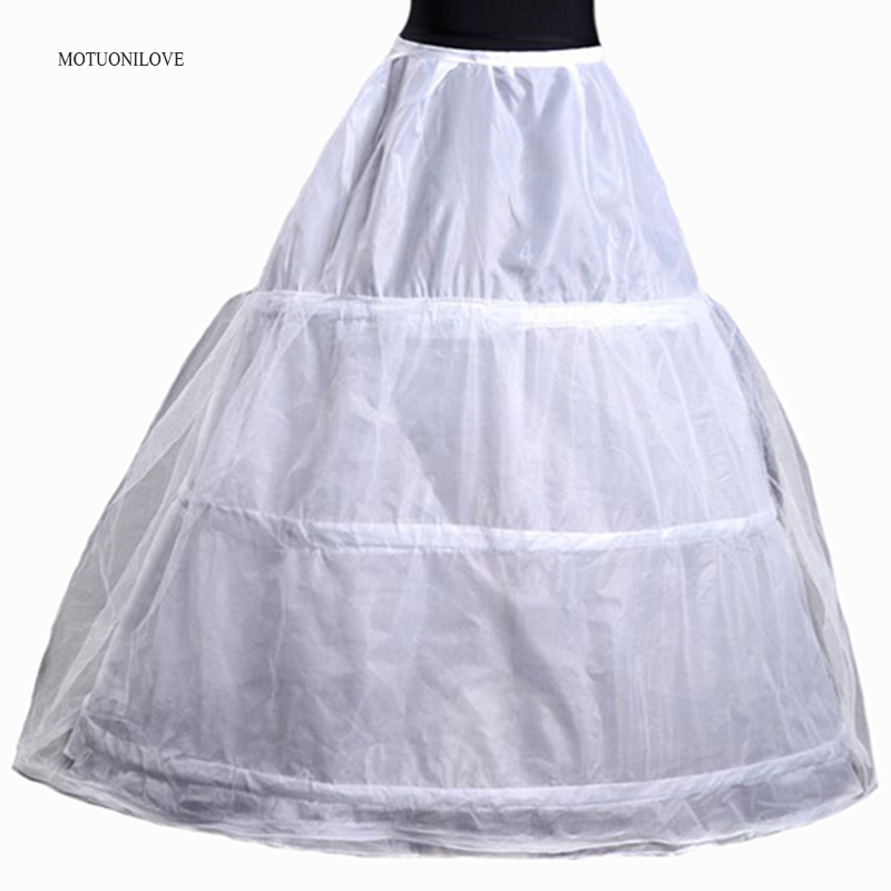 Cheap Free Shipping White 3 Hoops Petticoat Crinoline Slip Underskirt For Wedding Dress Ball Gown In Stock Wedding Accessories