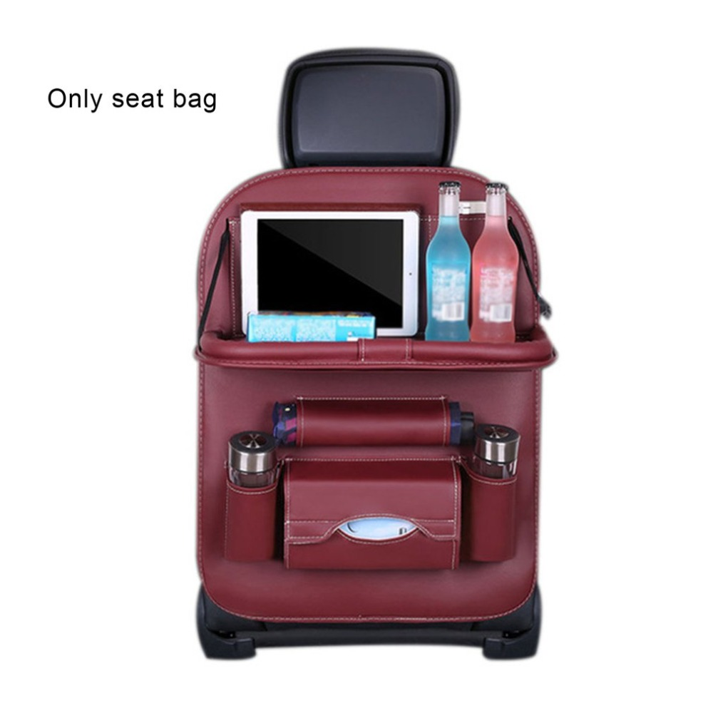 PU Leather Car Seat Back Organiser with Foldable Tray 10