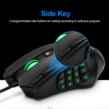Rocketek USB wired Gaming Mouse 16400 DPI 16 buttons laser programmable game mice with backlight ergonomic for laptop computer 6