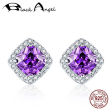Genuine 925 Sterling Silver Square Purple Zircon Stud Earrings for Women CZ Wedding Fine Jewelry