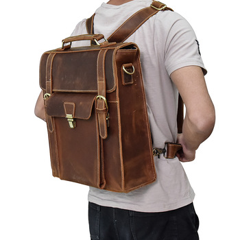 цены Genuine Leather Backpack Men Women Vintage Laptop Crazy Horse Leather Backpacks for School Bag Mochilas Travel Backpack Male Bag