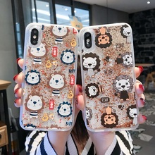 Liquid Case on For Coque iphone XS X XR Max 6 6S Plus 7 8 Bling Glitter Flow Quicksand Lion Hard PC Back Cover Etui