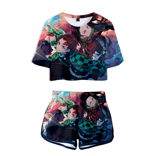 Demon Slayer two piece set short sleeve and Short Pants Set