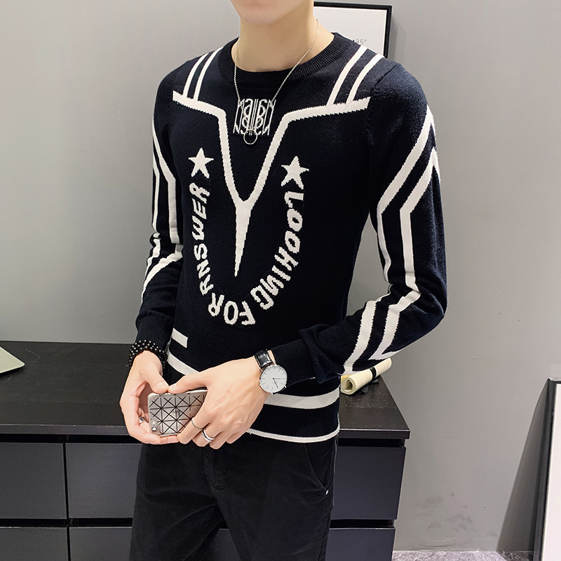 Black White Mens Sweter Letter Spelling Color Personality Round Neck Pullover Knitting Heren Sweater Casual Sweaters Knitwear