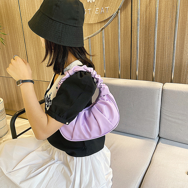 Fashion-Pleated-Handle-Bags-For-Women-Solid-Color-Cloud-Bags-PU-Leather-Shoulder-Bags-Armpit-Bag