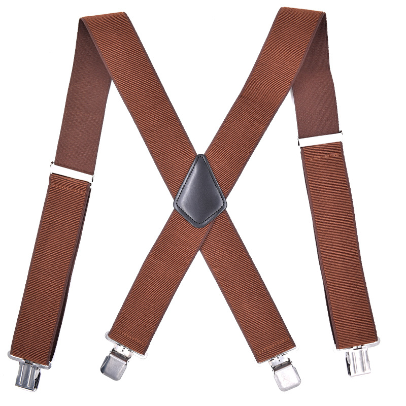Cross Border Supply Of Goods Suspender Strap Adult 4 Clip Ribbed Pattern Men Suspender Strap 5CM Widened Elastic Elasticity Susp