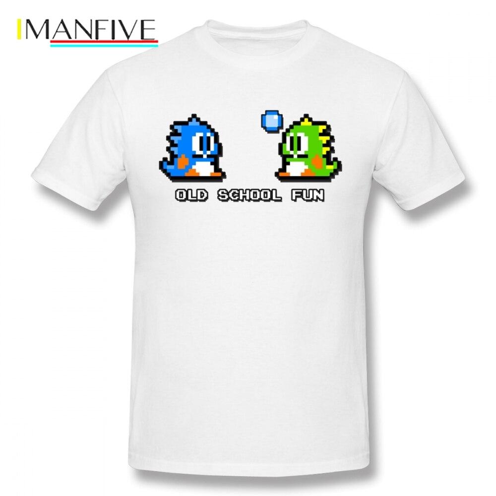 For Man Old School Fun Bubble Bobble Bub And Bob Retro Love FC Console Game T Shirt 3D Print O-neck Plus Size Camiseta