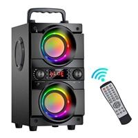 TOPROAD-altavoz portátil de 60W con Bluetooth, dispositivo de sonido estéreo con graves, inalámbrico, Subwoofer, compatible con Radio FM, luz LED RGB, PARA Karaoke y fiestas