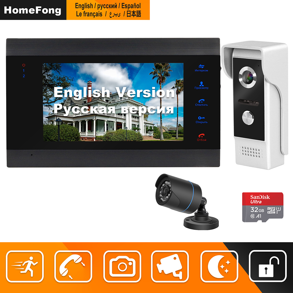 HomeFong Wired Video Intercom With Camera Infrared Night Vision Support Motion Detect Recording Home Security Camera System Kits
