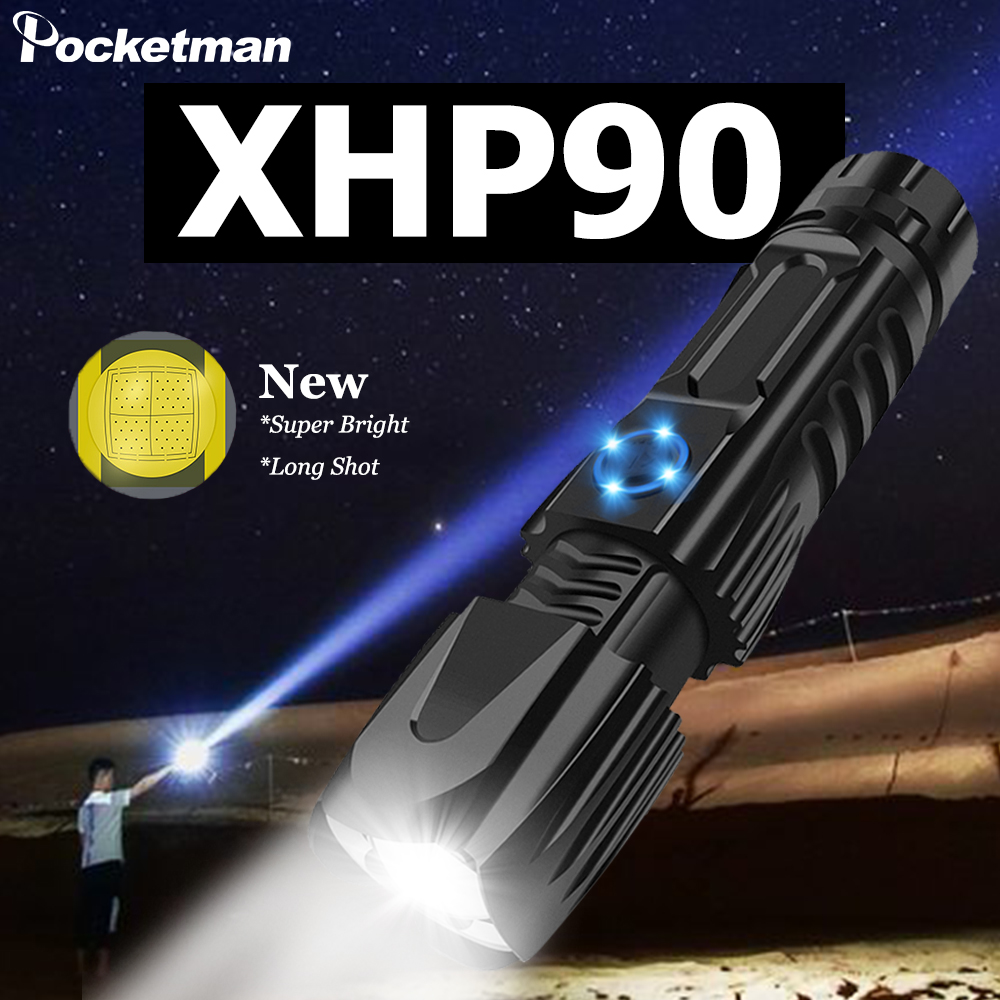 Powerful XHP90.2 Xlamp Flashlight Tactical Flashlight USB Rechargeable Torch Waterproof Torch  Smart Chip Control 26650 Battery