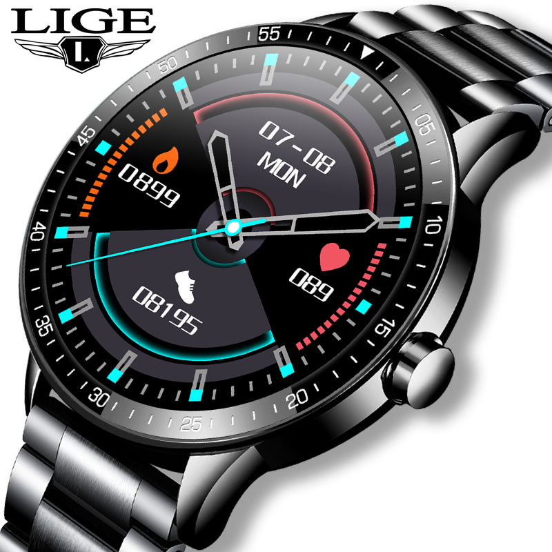 LIGE 2021 New Full screen touch Smart Watch Men Heart Rate Sport Fitness Watch Activity Tracker Waterproof Smartwatch for Xiaomi