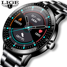 LIGE 2021 New Full screen touch Smart Watch Men Heart Rate Sport Fitness Watch Activity Tracker Waterproof Smartwatch for Xiaomi