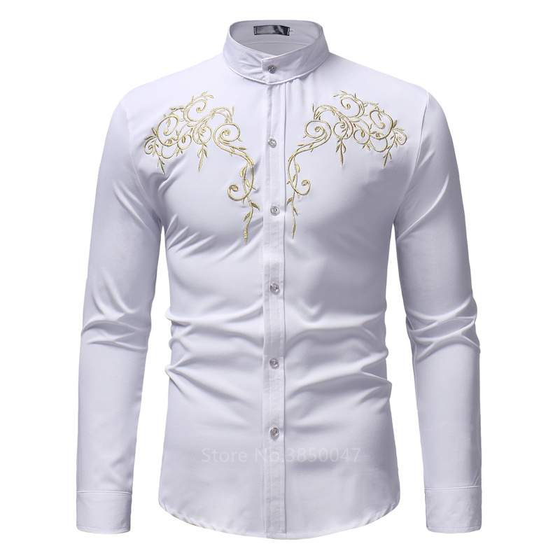 2020 African Clothes for Men Shirt Dashiki Long Sleeve Embroidery Rich Bazin Print Traditional Africa Fashion Dresses Clothing 5