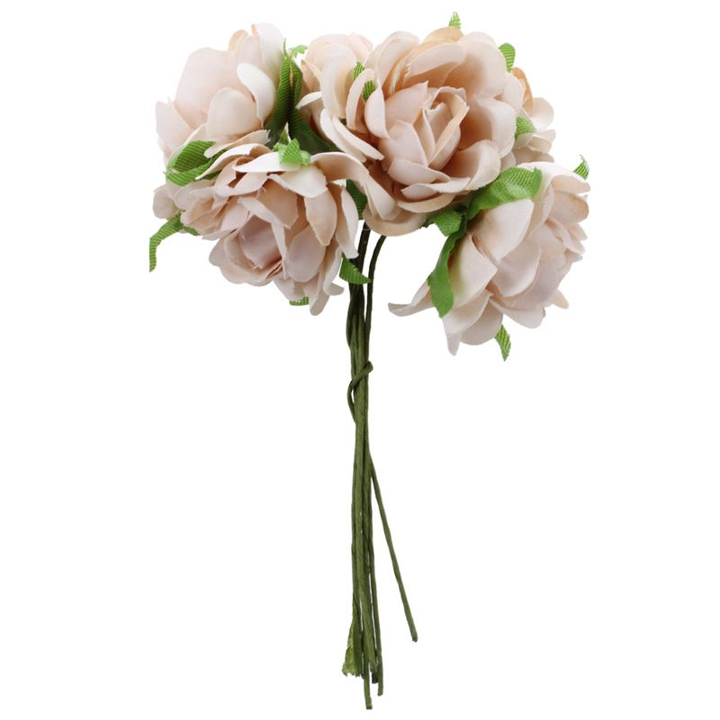 Quality 6PCS/Lot DIY New silk flower Rose Artificial Flower Bouquet For Home Wedding Party & Clothing Hats Accessories Rose Flow