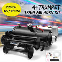 Black Truck Train Quad 4 Trumpet Air Horn Kit 170 PSI 150DB 12V 3Liters Compressor & House