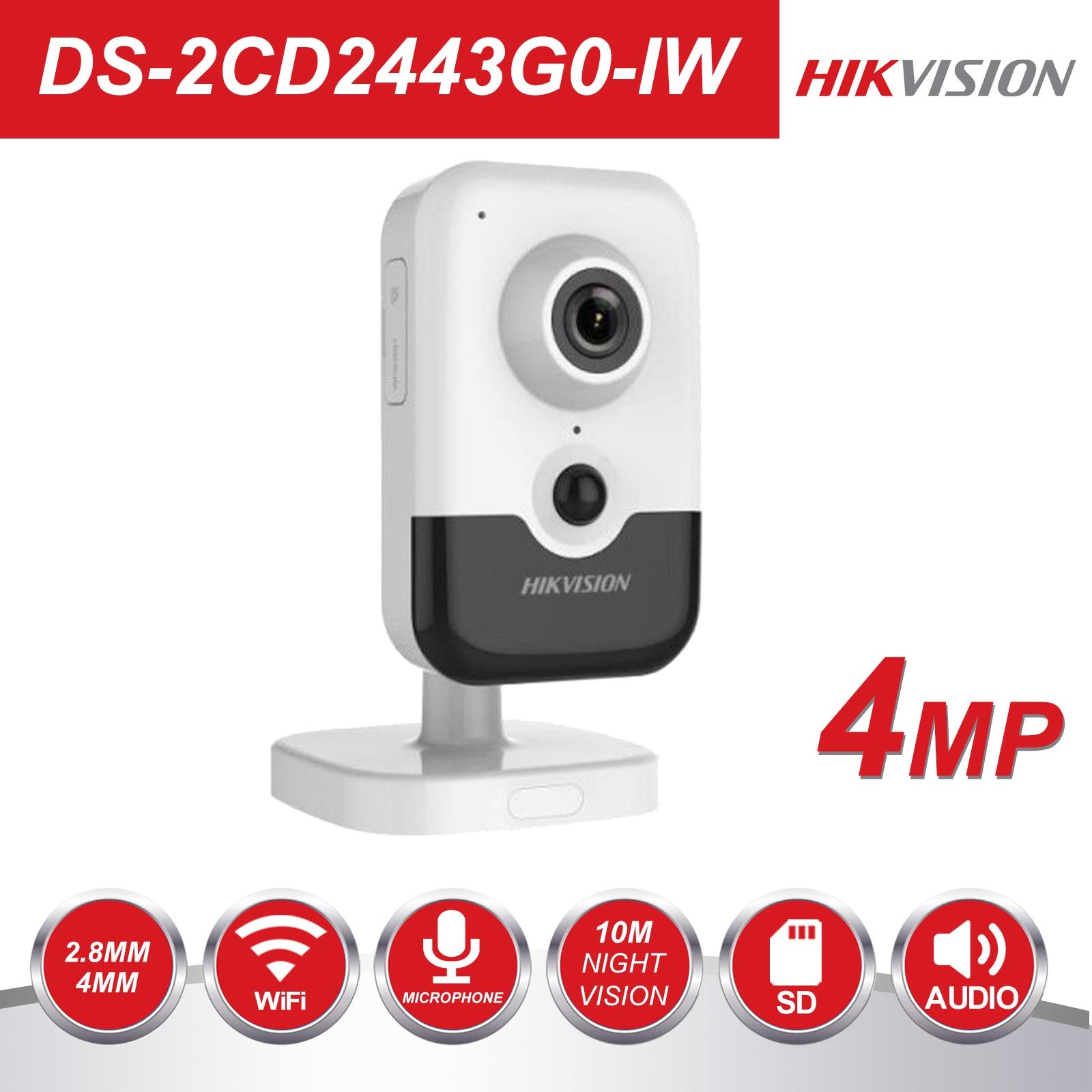 HIK Novo Vídeo Vigilância Câmera Wi-Fi PoE DS-2CD2443G0-IW 4MP IR Câmera IP Interno do Cubo Fixo Sem Fio Speaker H.265 +