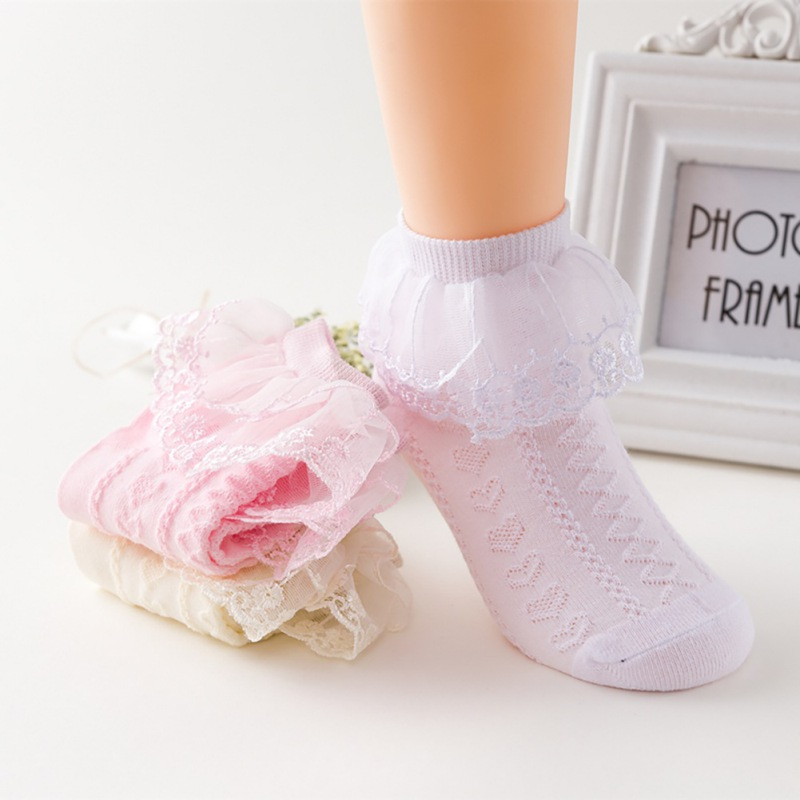 3Colors Newborn Baby Socks Cute Lace Flower Mesh All Seasons Cotton Girl Angel Wings Anti Slip Children\\\'s Girls Socks