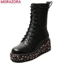 MORAZORA 2020 新ファッションウェッジプラットフォームブーツ女性の革の靴レースアップラウンドトゥフラワーパンク足首ブーツ女性