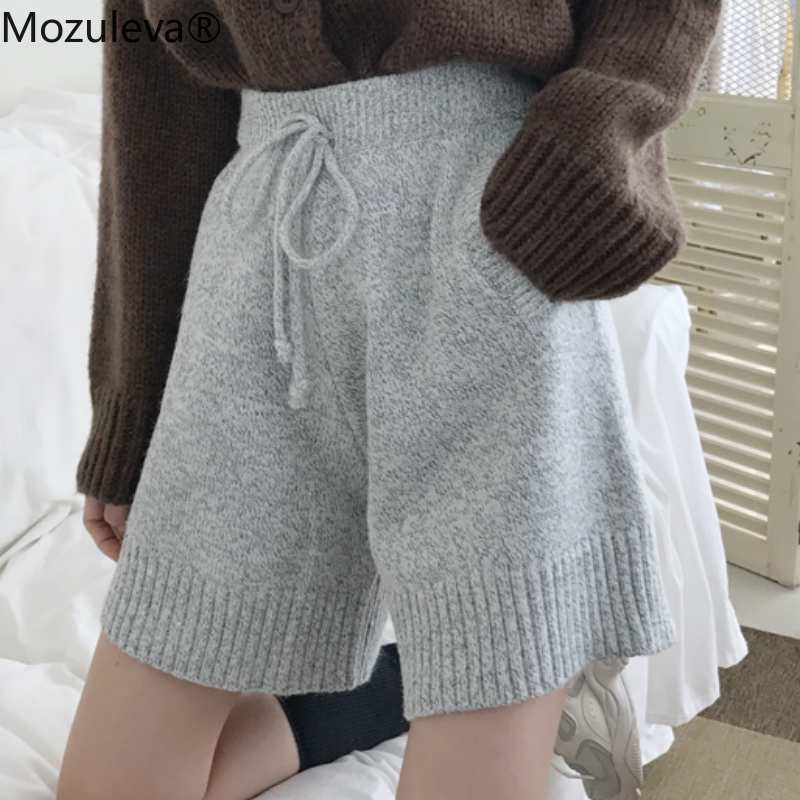 Autumn Winter Women Thread Woven Knitted Shorts Lace Up Loose Female Casual Wide Legs Shorts All Match Lady Femininas