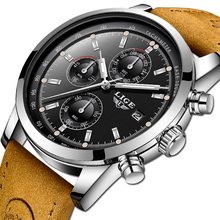 LIGE Mens Watches Top Brand Luxury Leather Casual Quartz Watch Men Military Sport Waterproof Clock Chronograph Relogio Masculino top brand luxury moon phase men quartz watches mens casual sport watch male multifunction waterproof clock relogio masculino