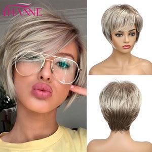 Image 3 - Hanne mix peruca de cabelo sintético, perucas de cabelo sintético, marrom e loiro, alta temperatura, resistente ao calor, peruca afroamericana curta