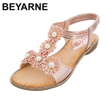BEYARNEForeign Trade Women Large Size Bohemian Sun Flower Flat Pearl With Open Toe Sandals 2019 Sunmmer Sandalia Femini - discount item  50% OFF Women's Shoes
