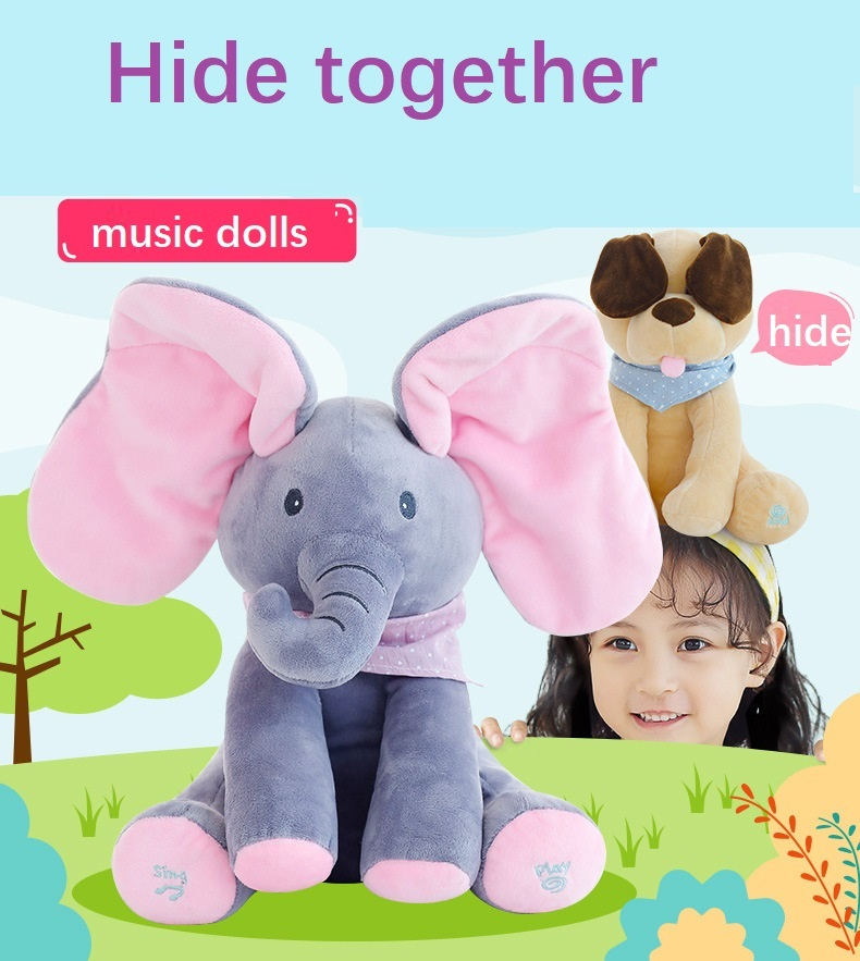 Hidden Cat Elephant Plush Toy Talking Moving Electric Plush Toy Colorful Stuffed Animal Birthday Gift Luminous For Girls Toys