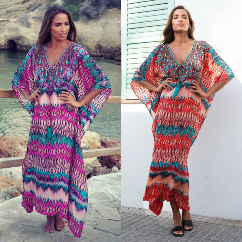 Women Beachwear Swimwear Floral Print Bikini Cover-Ups Beach Wear Cover Up Loose Ladies Boho V-neck Summer Dress Sundress